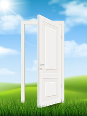 Open white door in the grass on the background of natural landscape. Vector concept illustration.