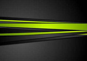 Tech black background with contrast green stripes Wall mural