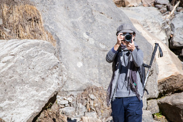 photographer on the way hiking to Himalayan , trekking