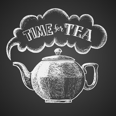 Teapot drawn on chalkboard with Time for Tea lettering
