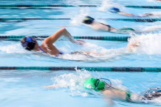 Freestyle swimmers motion blur