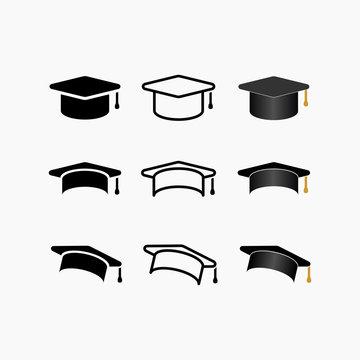 Education, graduation cap/hat icon simple vector illustration