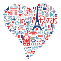 Paris France icons, landmarks, attractions within a heart shape