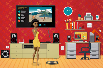 Young woman in the living room. Home theater, stereo, workplace.