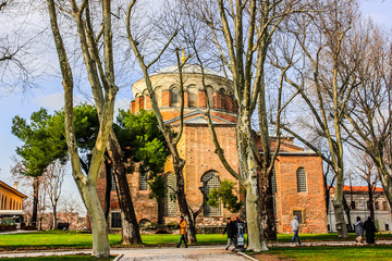Hagia Irene church (Aya Irini) in the park of Topkapi Palace. Istanbul, Turkey