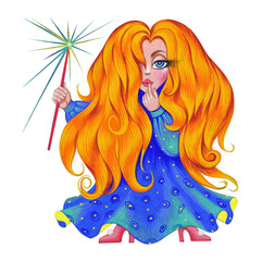 Little redhead fairy in night blue dress