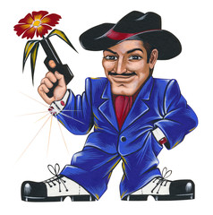 Hero-lover with a flower in his gun. One picture from set of 32 original acrylic hand painted cartoon cards.