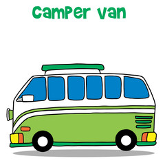Green camper van for kids