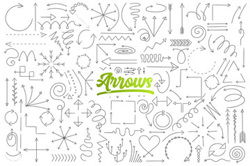 Hand drawn set of arrow doodles with green lettering in vector