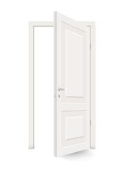 Open white door isolated. Realistic vector illustration isolated.