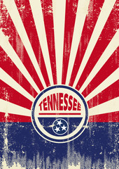 Tennessee Flag Retro sunbeams background