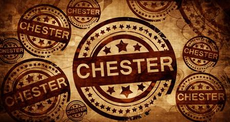 chester, vintage stamp on paper background Fotomurales