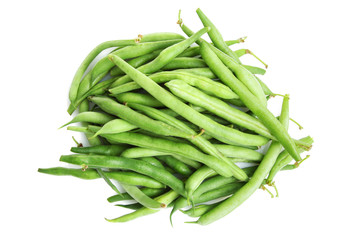 Fresh green beans isolated on a white background.