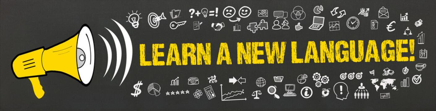 Learn a new language! / Megafon mit Symbole