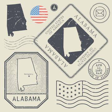 Retro vintage postage stamps set Alabama, United States