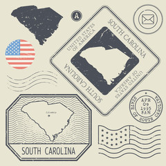 Retro vintage postage stamps set South Carolina, United States