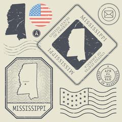 Retro vintage postage stamps set Mississippi, United States