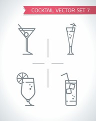 Vector outline icons fresh Drinks and Cocktails