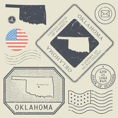 Retro vintage postage stamps set Oklahoma, United States