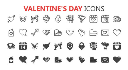 Simple modern set of valentines day icons. Premium symbol collection. Vector illustration. Simple pictogram pack.