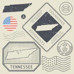 Retro vintage postage stamps set Tennessee, United States