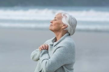 Senior woman doing meditation