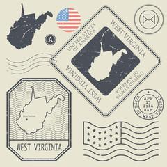Retro vintage postage stamps set West Virginia, United States