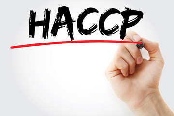 Hand writing HACCP with marker, concept background