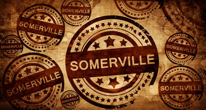 somerville, vintage stamp on paper background