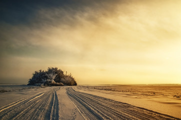 Enchanting winter landscape and sunset snowy field fog