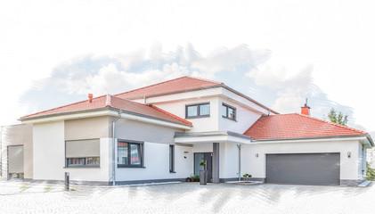 Skizze Wohnhaus mit Garage