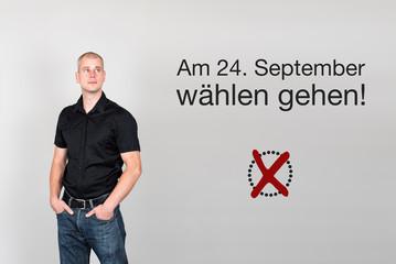 Mann mit Aufruf zum wählen gehen für Bundestagswahl Deutschlan