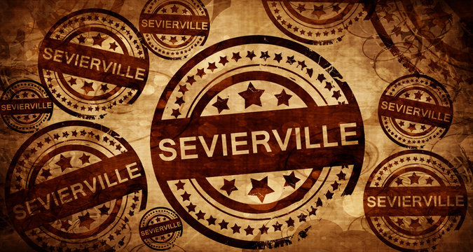 sevierville, vintage stamp on paper background