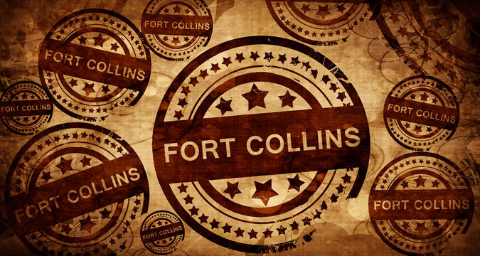 fort collins, vintage stamp on paper background