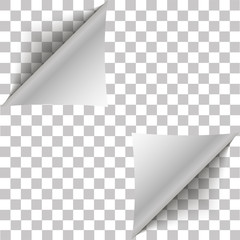 White page double corner curled for your design. White gradient paper curl with shadow isolated on transparent background. Vector sticker paper note for memo and notic Place for text