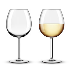 Glass of white wine and empty glass. Vector illustration isolate
