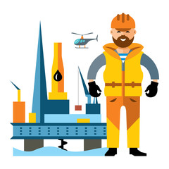 Vector Sea Oil Rig Drilling Platform and oilman. Flat style colorful Cartoon illustration.
