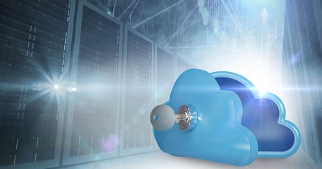 Composite image of blue locker in cloud shape with key 3d