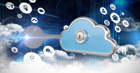 Composite image of cloud computing icons 3d