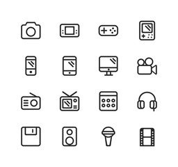 Set of Electronics Related Vector Line Icons. Contains such Icons as Camera, Phone,Computer, Television, Headphones, Radio and more. Fully Editable. Neatly Done.