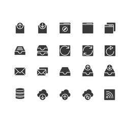 Set of Web Related Vector Monocolor Icons. Contains such Icons as Input, Output, Download, Upload ,Mail,Arrows and more. Fully Editable. Neatly Done.