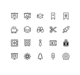 Set of Miscellaneous  Related Vector Line Icons. Contains such Icons as Board, Binocular, Scissors, Archery, Money Safe, Tie, Drawers, Rocket  and more. Fully Editable. Neatly Done.