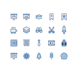 Set of Miscellaneous  Related Vector Colored Icons. Contains such Icons as Board, Binocular, Scissors, Archery, Money Safe, Tie, Drawers, Rocket  and more. Fully Editable. Neatly Done.