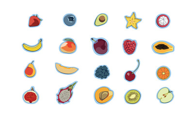 Set of colorful cartoon fruit icons, fruit icon set,collection set of abstract simple fruit logo or icon, isolated on white background,apple, pear, strawberry, orange, peach, plum, banana, pineapple,