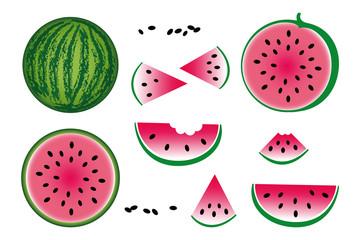 Icons von Wassermelonen, Vectorgrafik / Illustration mit weißem Hintergrund