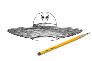 Ufo shaceship with alien vector illustration