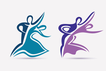 ballroom couple dance symbols collection, stylized vector icons