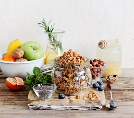 Granola and various superfoods products for healthy eating concept.. Detox program ingredients.Selective focus