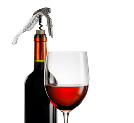 Wall Mural - Wine glass and bottle on a white background