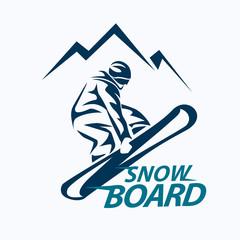 snowboarding stylized symbol, vector silhouette, logo or emblem